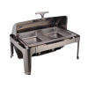 不锈钢2x1/2双盆长方形全翻盖豪华餐炉